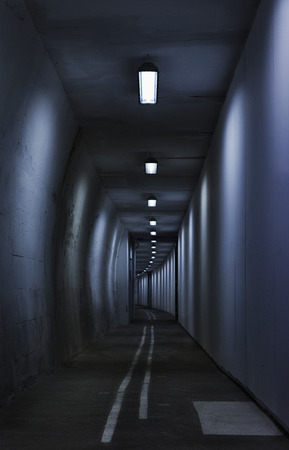 Seamless tunnel lighted by neon tubes  ,long white lines point the direction, vertical composition , high contrast Banco de Imagens - 111369837