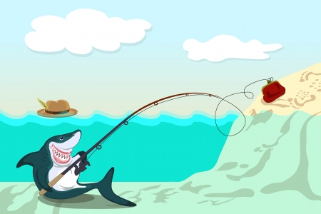 funny shark lures the victim to purse Vector
