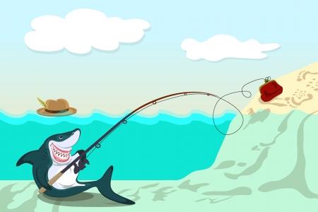 cartoon fishing: funny shark lures the victim to purse Illustration