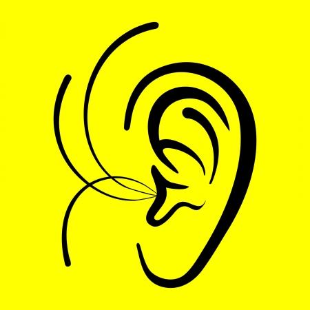 listening ear: ear symbol on a yellow background Illustration