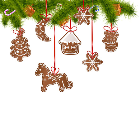 gingerbread cake: Christmas gingerbread hanging on a Christmas tree Illustration