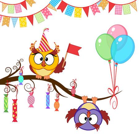 the decor: tarjeta de felicitaci�n con los buhos y globos divertidos Vectores