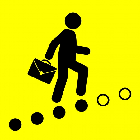 career up: man goes on the career ladder on a yellow background Illustration