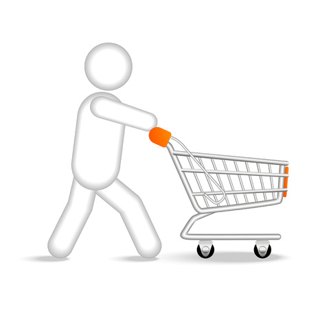 shopaholics: a man with a shopping cart goes shopping Illustration