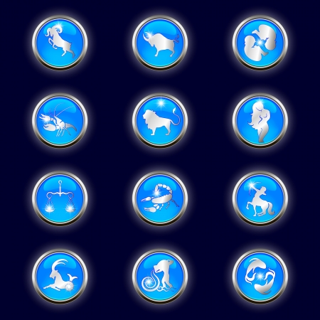 cancer crab: astrological signs of the zodiac button blue Illustration