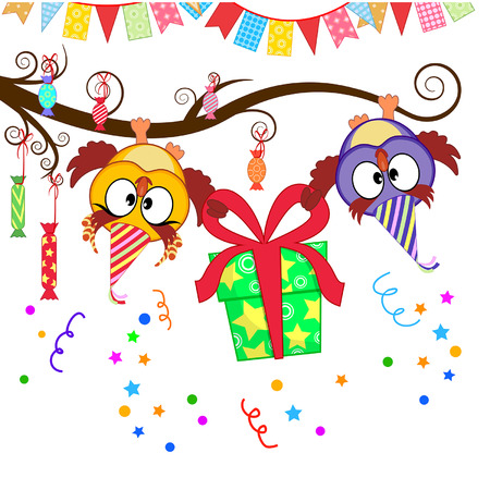 greeting card with funny owls gift giving Stock Vector - 24189208