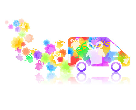 symbol of a truck with a gift box and flowers Vector