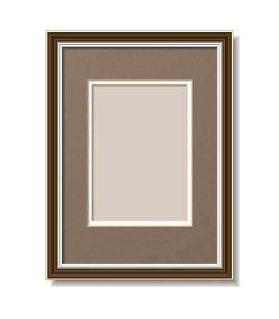 brown wooden frame with Passepartout Vector