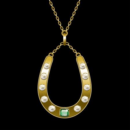 golden horseshoe: golden horseshoe on a chain Illustration