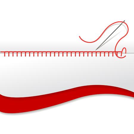 hilo rojo: tarjeta con una aguja para bordar Vectores