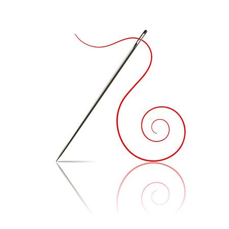 penetracion: aguja de coser con hilo rojo