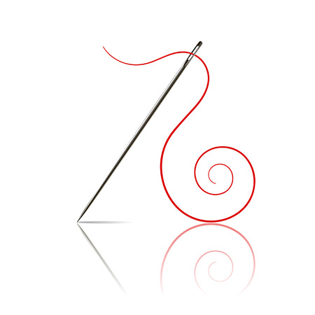 penetration: sewing needle with red thread