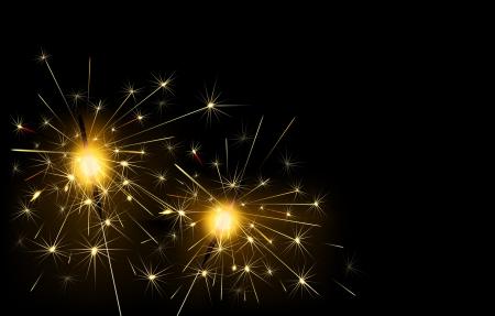 bengal fire: Sparklers burning on a black background Illustration