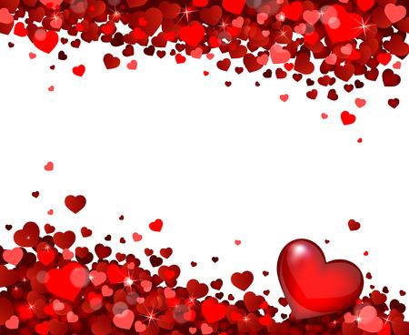 white frame love heart: red hearts