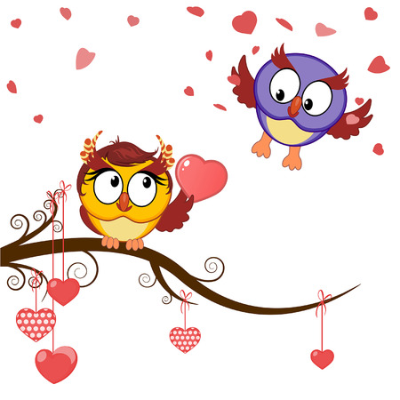 card funny owls declaration of love in valentines day Vector