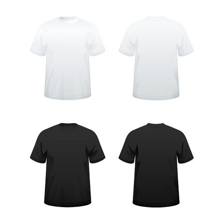 T-shirts in white and black color variations Vector