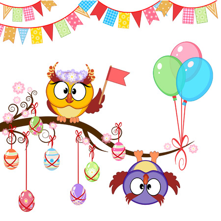 Greeting Easter card with funny owls Vector