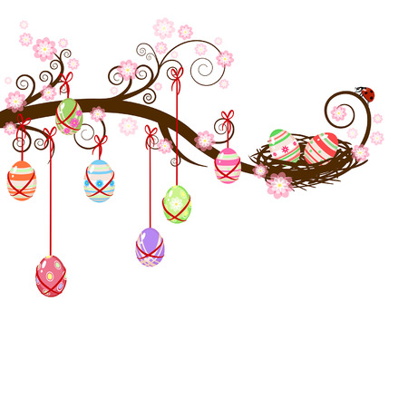 Easter eggs hanging on a branch with ladybug Vector