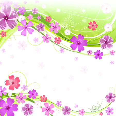 Spring floral background with butterfly and grasshoppers Vector