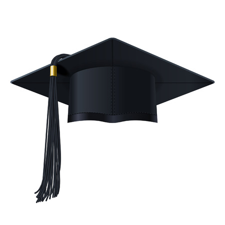 bonete: gorra de posgrado en el fondo blanco Vectores