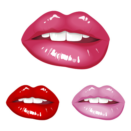 beautiful sexy red lips set Vector