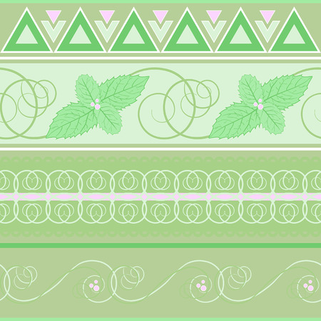 spearmint: seamless pattern with green mint
