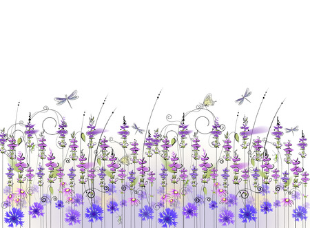 floral background of lavender wildflowers Vector