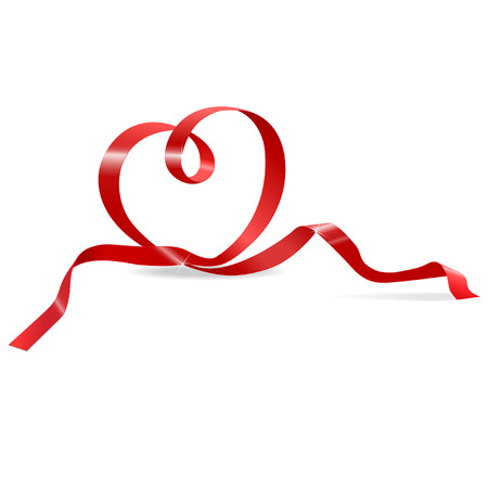 red ribbon in the shape of heart Illustration