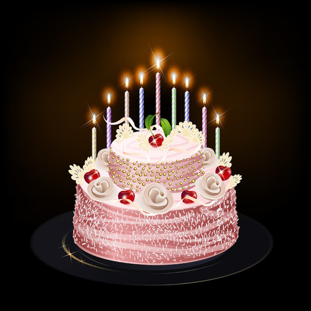 cake with candles on a dark background Vector