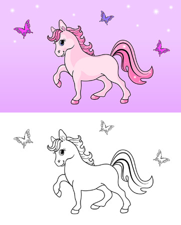 Coloring book with funny horse Vector