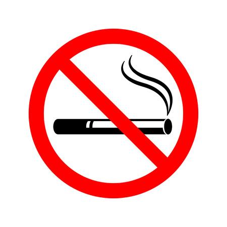 nicotine: no smoking sign with cigarette smoke Illustration