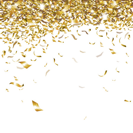 gold ribbons: festive glittering gold confetti falling
