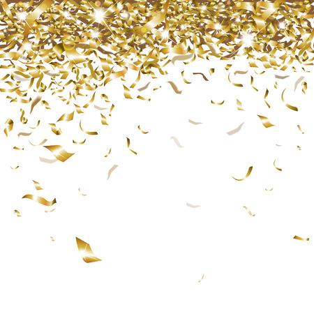 aislado: festivo confeti de oro brillantes que caen