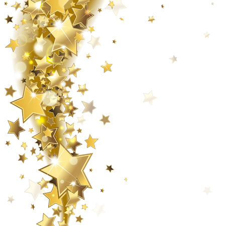 christmas stars: background with shiny gold stars Illustration