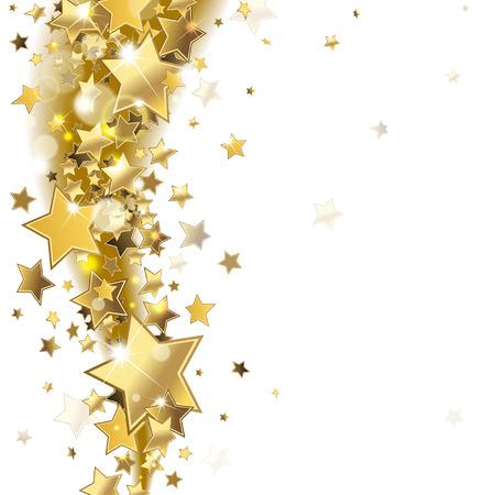 dorado: de fondo con estrellas brillantes del oro Vectores