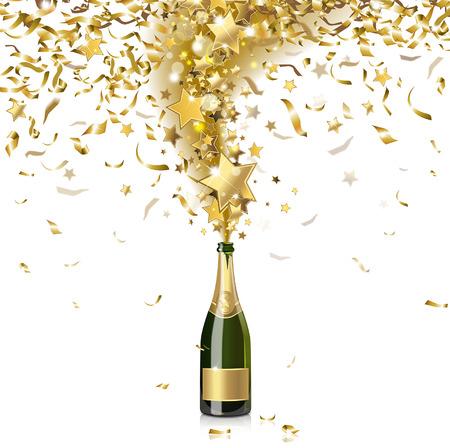 botella champagne: champán festivo con confeti de oro