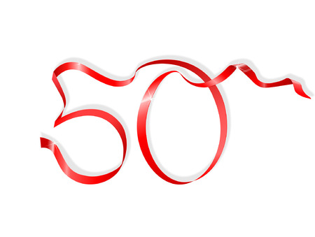anniversary sale: red ribbon in the shape of number fifty