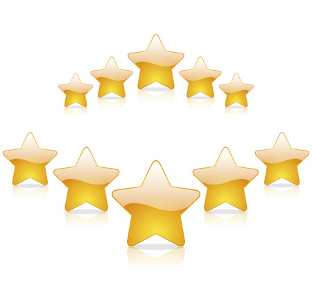 five star rating on a white background