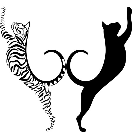 cats playing: striped and black cat silhouette