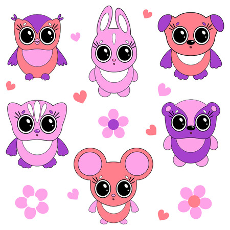 funny little animals cartoon set Vector