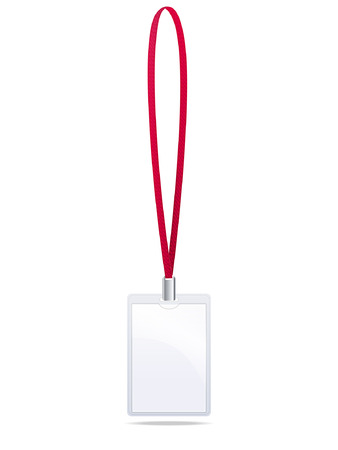 sign holder: badge with a red lanyard on a white background
