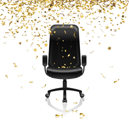 career success: career success, office chair and confetti Illustration