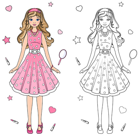 coloring book doll in a pink dress Vector