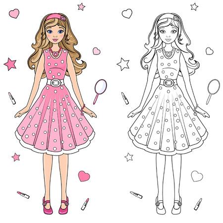 Muñeca De Papel Con Ropa De Color Rosa Ilustraciones Vectoriales ...