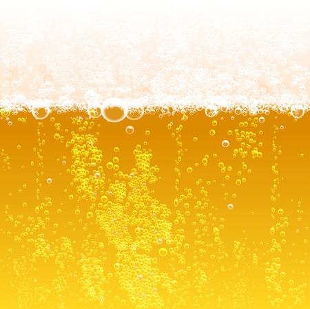 background beer with foam and bubbles Vector