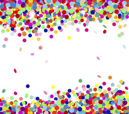 Banner festive multicolored confetti falling Ilustração