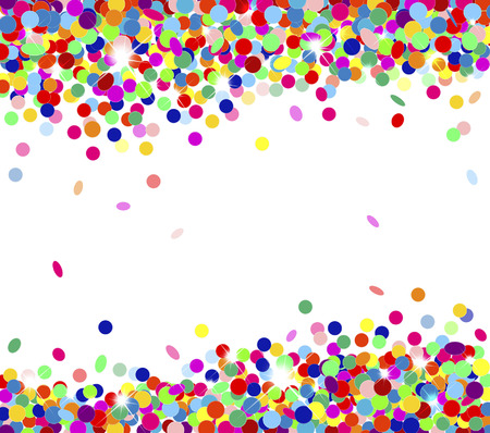 Banner festive multicolored confetti falling Illustration