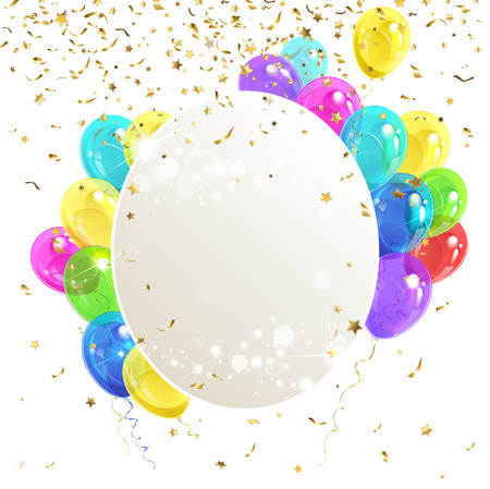 banner with balloons and confetti Illustration