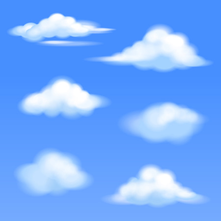set of isolated clouds on a blue background Illustration