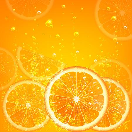 orange water: orange juice with orange slices and bubbles